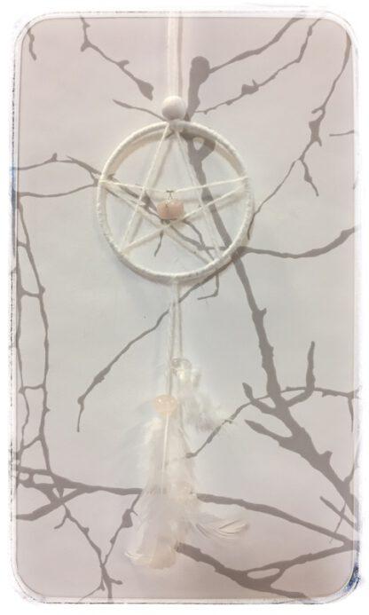 Viiskanta eli pentagrammi, valkoinen, ruusukvartsikide keskellä