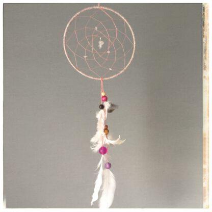 vaaleanpunainen unisieppari, isot lasihelmet ja isot sulat